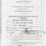 CERTIFICATE FOR REGISTRATION OF PREMISES