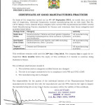 CERTIFICATE OF GOOD MANUFACTURING PRACTICES
