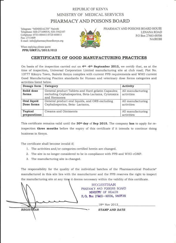 Certifications Universal Corporation