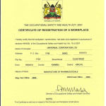 CERTIFICATE OF REGISTRATION OF A WORKPLACE